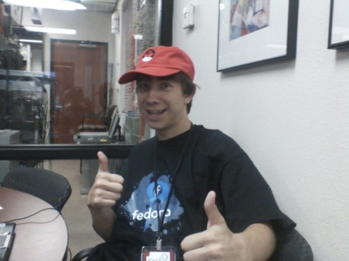 me in Fedora shirt and red redhat hat